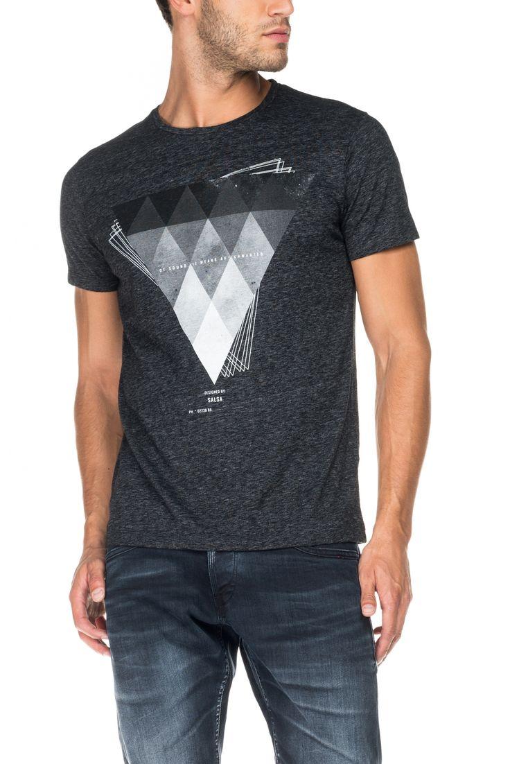 T-shirt mescla com gráfico frontal | 115363 Cinza titânio | Salsa
