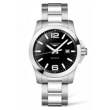 L37604566 Ανδρικό ελβετικό ρολόι LONGINES Conquest quartz με ημερομηνία, μαύρο καντράν & μπρασελέ | Ανδρικά ρολόγια LONGINES ΤΣΑΛΔΑΡΗΣ στο Χαλάνδρι #conquest #μαυρο #longines #ρολόι