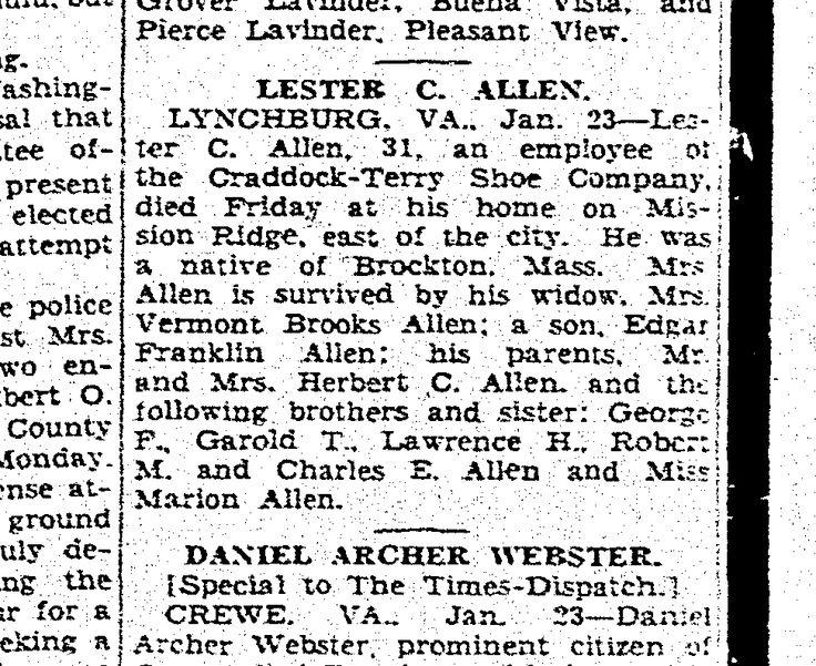 1932 Lester C Allen Obituary GenealogyBank.com Richmond Times Dispatch (Richmond, Virginia). 24 Jan 1932. Page 13
