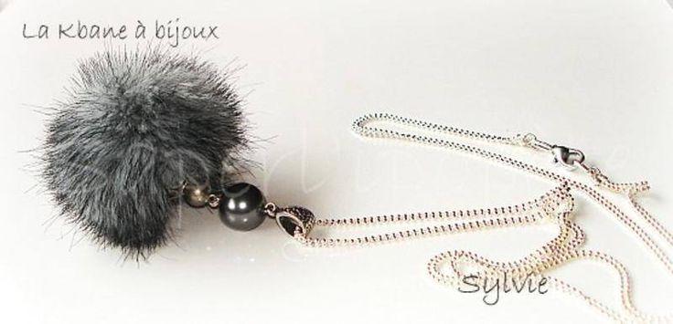 Sautoir pompon fourrure gris fonçé - sautoir et collier matinée - La Kbane à bijoux - Fait Maison