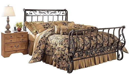 Ashley Furniture. Bittersweet King Metal Sleigh Bed