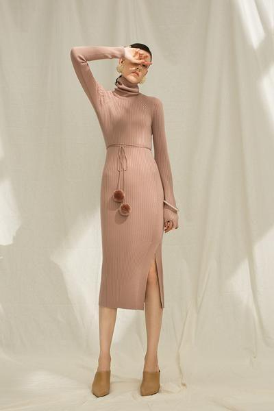 Stretch Knit Wool Blend Midi Dress – Genuine People