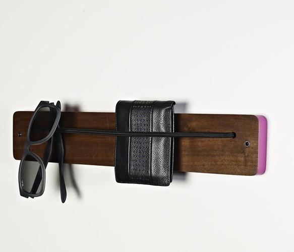 DIY idea :: elastic line on a wood board for sunglasses and other small items: Walnut Magenta, Eyewear Racks, Racks 2 0, Brad Reed, 2 0 Walnut, Fab Com, Front Doors, Walnut Limes, Glasses Holders