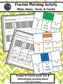 This product is the perfect way for your students to gain a better understanding of fractions! This hands-on puzzle matching activity incorporates a whole, halves, thirds, and fourths featuring rectangles. The puzzle sets are also color coded to assist with matching each puzzle set together.