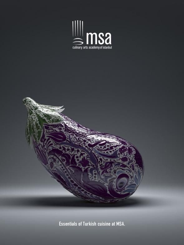 MSA Culinary Arts Academy of Istanbul: Eggplant | #ads #marketing #creative #werbung #print #poster #advertising #campaign < repinned by www.BlickeDeeler.de | Follow us on www.facebook.com/blickedeeler