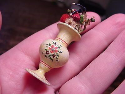 Antique Victorian Tureen Wood Painted Vase with Cloth Flowers for dollhouse