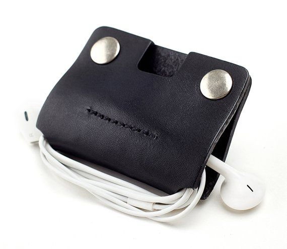 3 pcs Leather Earphone Clip Ear Bud Wrap Cord Organizer Cable Holder Cord Snap