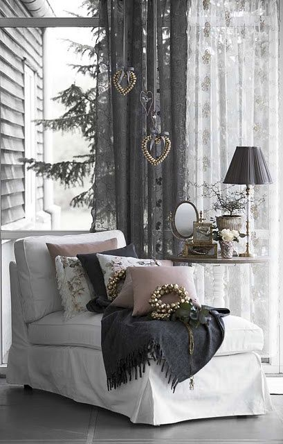 COLORS  Nice... the serene, feminine palette of this elegant, chic grey and pink.  CB