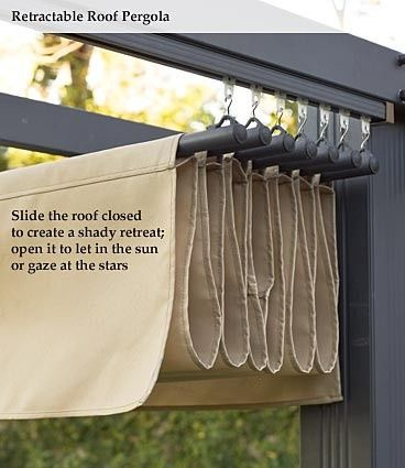 DIY Retractable Awning This would just be hung on an existing pergola. Looks like it would be two shower curtain tracks, curtain rods hung across... honestly the most pain would be sewing the canopy part out of canvas... oh yeah, and building a pergola - rugged life