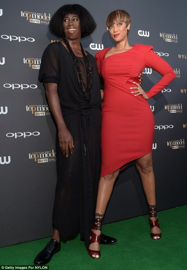 Co-stars: The former model posed with runway coach J. Alexander at the shindig...