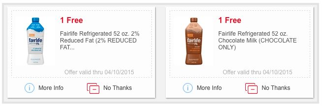 Meijer: Two free Fairlife milk e-coupons!  Meijer is offering two free Fairlife milk e-coupons. Just log into your Meijer mPerks account and download the two free e-coupons to your card.  These e-coupons are valid through April 10, 2015.