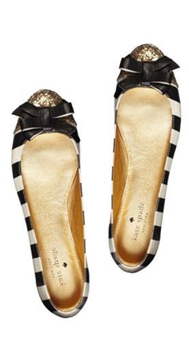 Striped flats with gold glittery accents and sweet little bows? I need these in my closet!