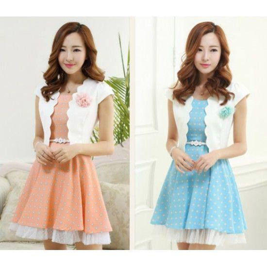 Polka Dot Dress with Free Summer Jacket Set YRB0322