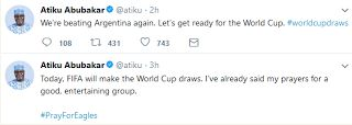 #WorldCupDraws: We Will Beat Argentina Again  Atiku  Former Vice President Atiku Abubakar has said that the Nigeria team will beat Argentina at the 2018 World Cup in Russia.  Atiku made the statement in a tweet on Friday shortly after the draw.  He tweeted: Were beating Argentina again. Lets get ready for the World Cup. #worldcupdraws .  Recall that Nigeria met Argentina at a recent friendly match.  Do you think Nigeria can scale through the group stage?   Breaking news