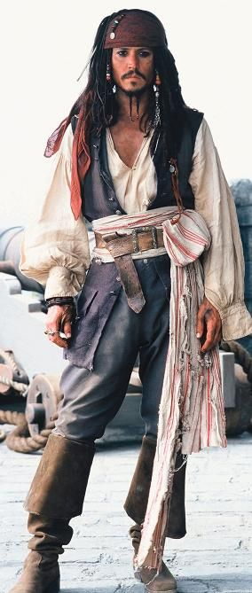 Jack Sparrow portrayed by Johnny Depp.