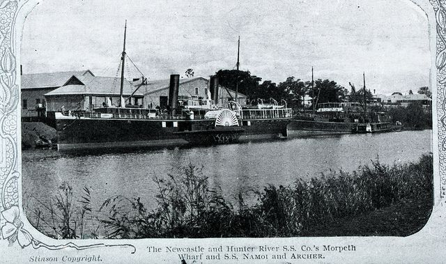 The Newcastle and Hunter River SS Company, Morpeth Wharf, SS Namoi and Archer, Morpeth, NSW, [1883-1925]