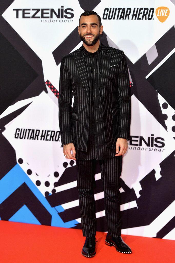 Marco Mengoni Rocks Givenchy Pinstriped Number at 2015 MTV EMAs