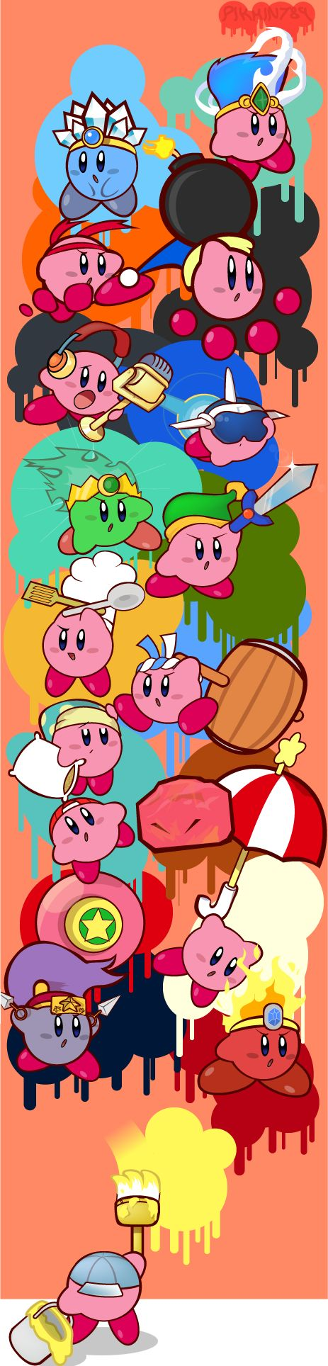 All the Kirby abilities--being painted by Paint Kirby!