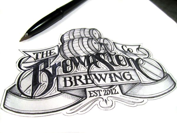 Martin Schmetzer - Beer Labels 1Logo, Brownstone Brew, Calligraphy, Hands Letters, Graphics Design, Beer Labels, Hands Drawn, Typography Inspiration, Martin Schmetzer