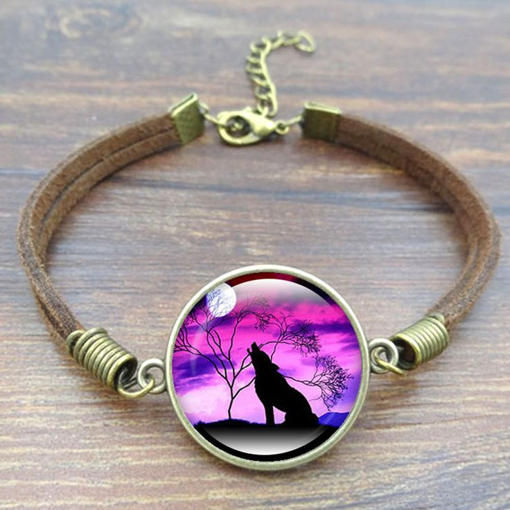 Howling Wolf Moon Charm Bracelet Fashion Handcrafted DIY Jewelry Vintage Brown Rope Bracelets for Women Men Best Gift
