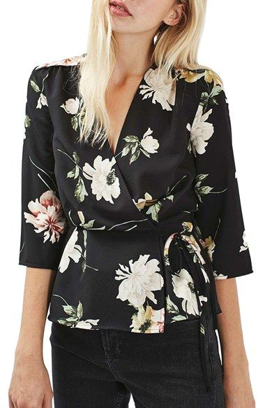 Free shipping and returns on Topshop Floral Wrap Blouse at Nordstrom.com. Elbow-length kimono sleeves and a lush floral print polish a light and dreamy crepe blouse with an alluring surplice neckline that ties at the hip.