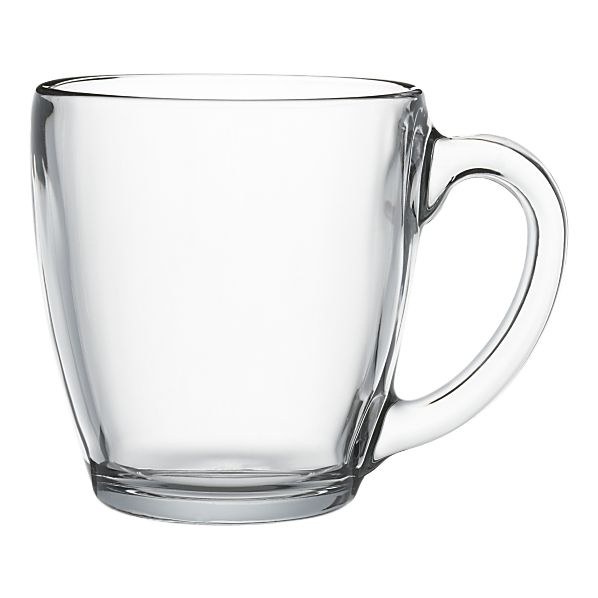 Glass coffee mugs. Crate and Barrel $2.95 each. Love clear mugs for coffee and tea when entertaining!