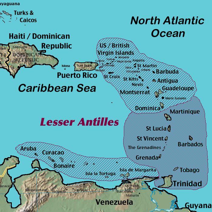 Leeward Islands And Windward Islands Map