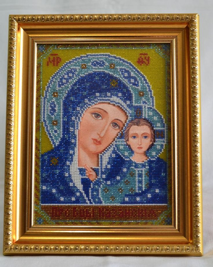 Handmade Bead Embroidery. Icon. Saint Mary or the Blessed Virgin Mary.  Handwork picture. Partially embroidered with beads. Is in a frame under anti-reflective glass.  Icon of Jesus is one of two Wedding icons of the Orthodox Church.