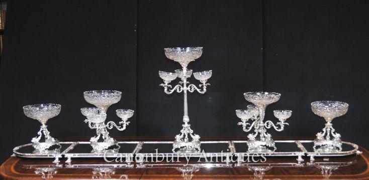 Victorian Sheffield Silver Plate Epergne Centrepiece Cut Glass Bowl | eBay