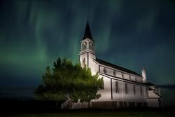 Blumenfeld Church south of Prelate Saskatchewan during an incredible display of Aurora Borealis
