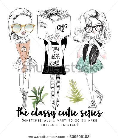 cute girl illustration friends 2 - stock vector