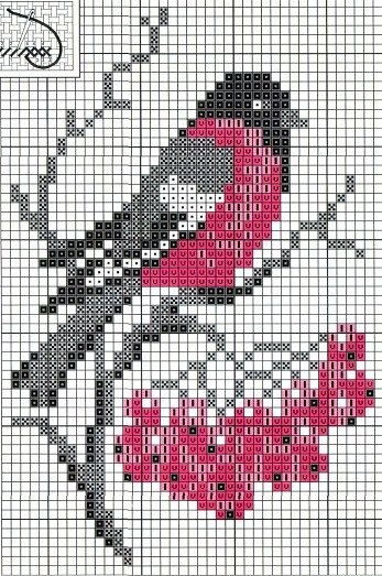 Bird perler bead pattern, quilt idea, I would just make the bird or the berries separately.