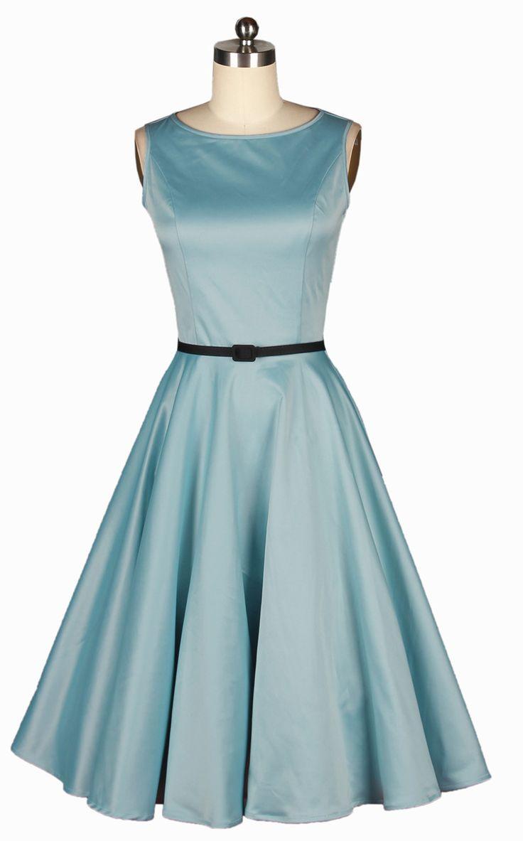 2014 summer women Audrey Hepburn 50s vintage rockabilly ball gown elegant party blue Dress Retro sleeveless mid-calf swing
