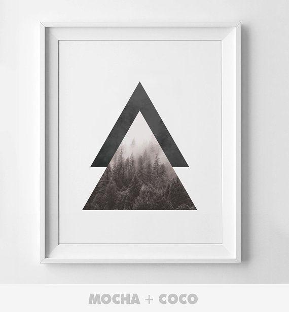 Geometric Triangle Mountain Art Poster, Geometric Wall Art, Startup Minimal Decoration, Printable Mocha + Coco, Intstant PRINT FILE DOWNLOAD
