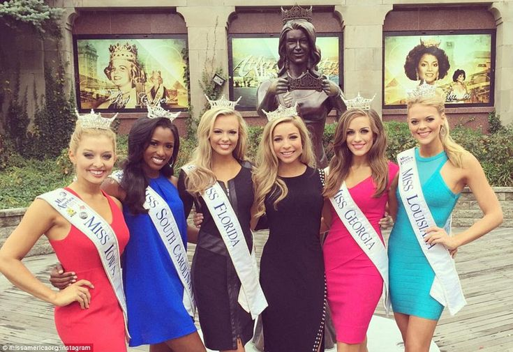 Scoring scholarships: The five contestants who took home preliminary wins for the swimsuit and talent rounds posed with 2015's Miss America, Kira Kazantsev (third from right)