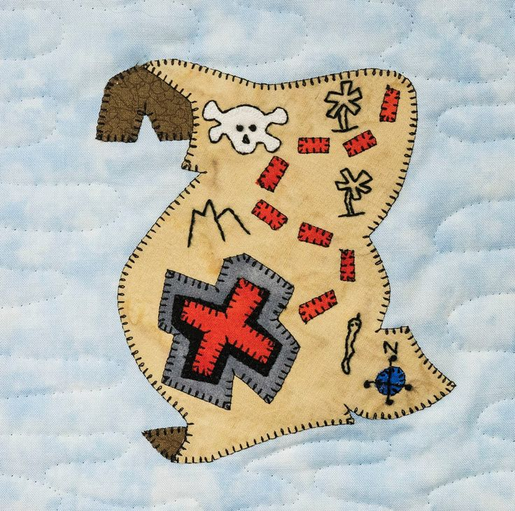 Pirate treasure map PDF applique quilt block pattern; baby boy or child's quilt pattern; Ms P Designs USA by MsPDesignsUSA on Etsy