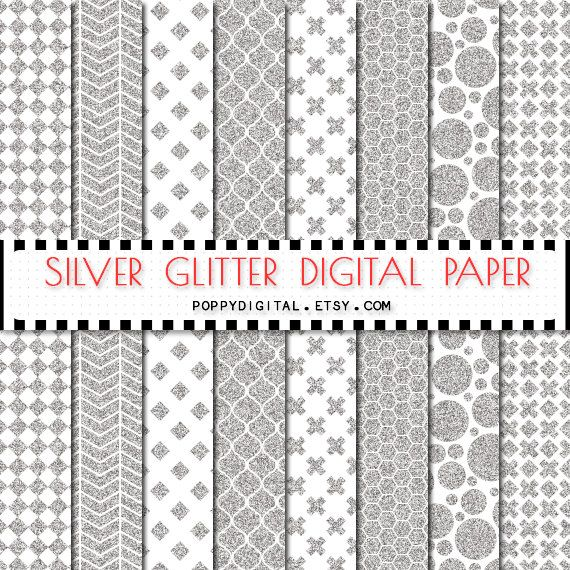 Silver digital paper patterns - silver backgrounds with textures silver polka dot, cross, lines, diamonds, phombs