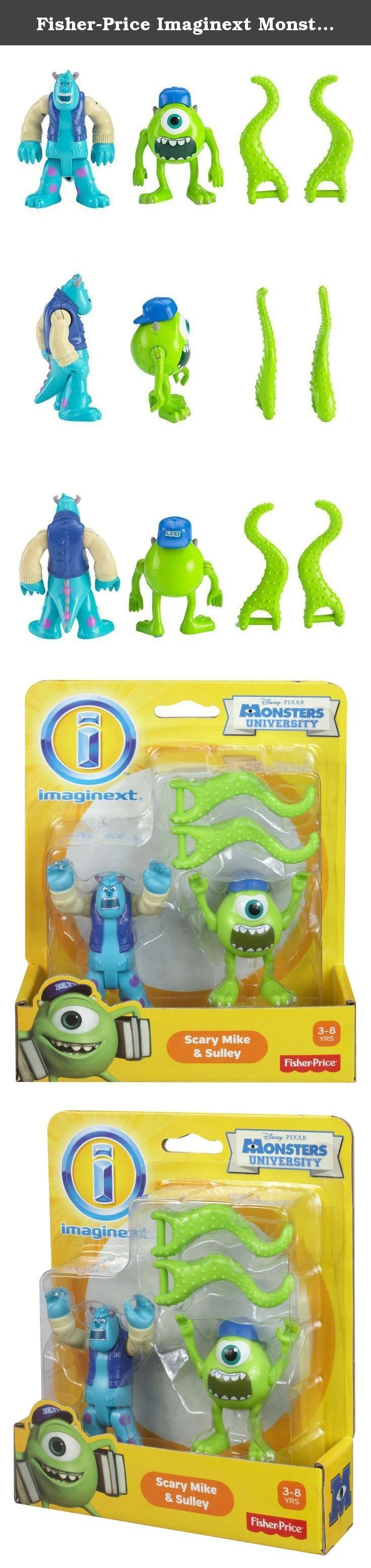 Fisher-Price Imaginext Monster's University Scary Mike & Sulley Playset. Imaginext Disney/Pixar Monsters University Scary Mike & Sulley: The Disney/Pixar movie, Monsters University, tells the story of how Mike and Sulley became friends during their college years at scare school. Scaring takes practice—and Mike needs extra help with tentacles he can hold in each hand! Kids will love re-enacting scenes from the movie with these favorite characters -- or creating new stories of their own. .