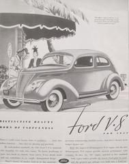 """1930s Vintage Matted American Car Advertisement, Ford V8. The ad puts particular emphasis on the beauty of the car, which is not only discussed in the ad's blurb but it also the subject of the image's caption (""""But officer -- when I told you I was just going to get a hat pretty enough for my new Ford you said yourself THAT wouldn't be easy!"""")."""