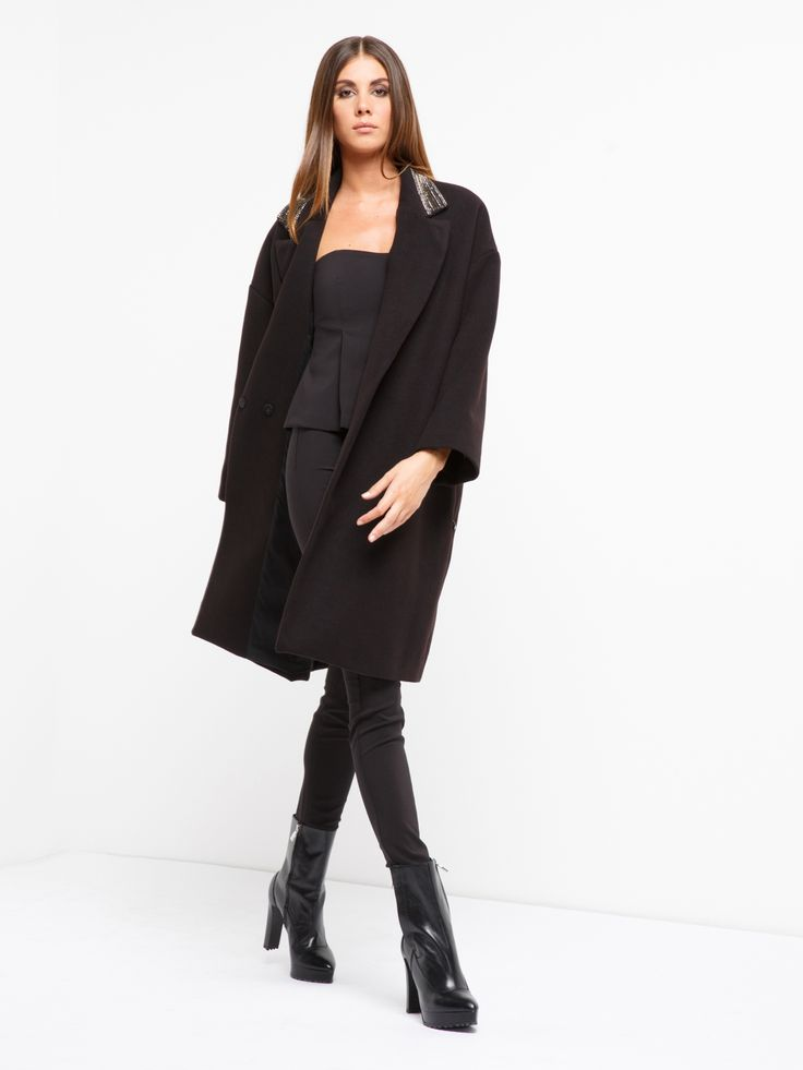 GIACCA OVERCOAT #metjeans #met #jeans #style #fashion #woman #apparel #accessories #fall #winter #collection #shopping #online #black #coat #overcoat