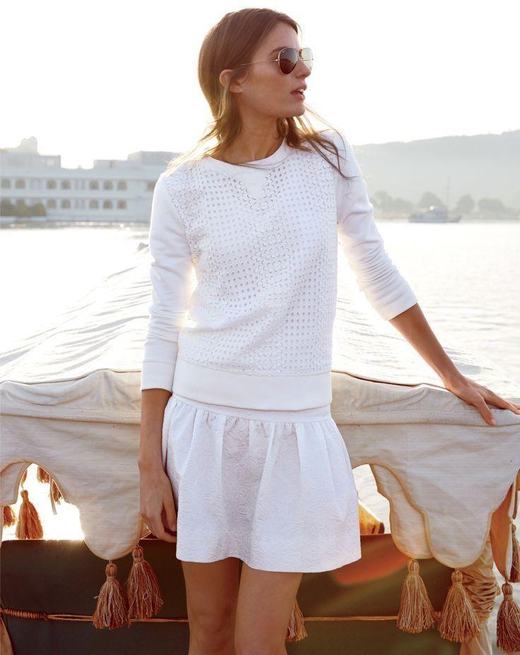 summer whites: open knit & skirt #style #fashion