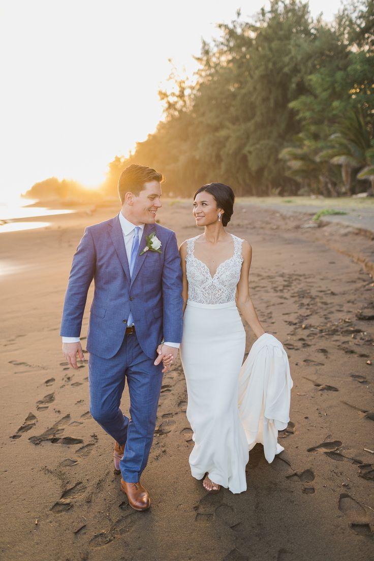 Sunset Beach Portrait. Waimea Plantation Cottages, Hawaii Wedding. Waimea Wedding Photographers. Hawaii Wedding Photographers. Photo by : Sea Light Studios.