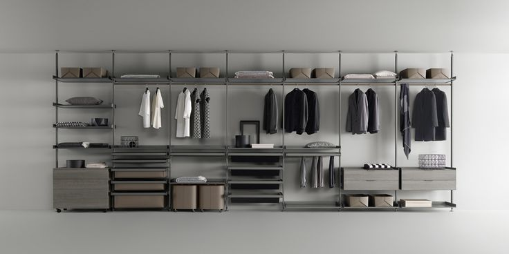 piombo lacquered aluminium structure, shelves with grey transparent glass, accessories in regenerated argilla leather and grey oak melamine
