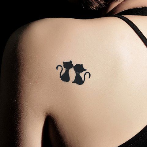 Sweet Kissing Cat Pattern Waterproof Tattoo Sticker For Women