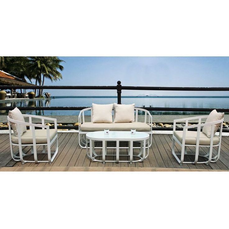 4 Seater Garden Sofa Set Aluminum Frame White Colour Cushions Outdoor Furniture