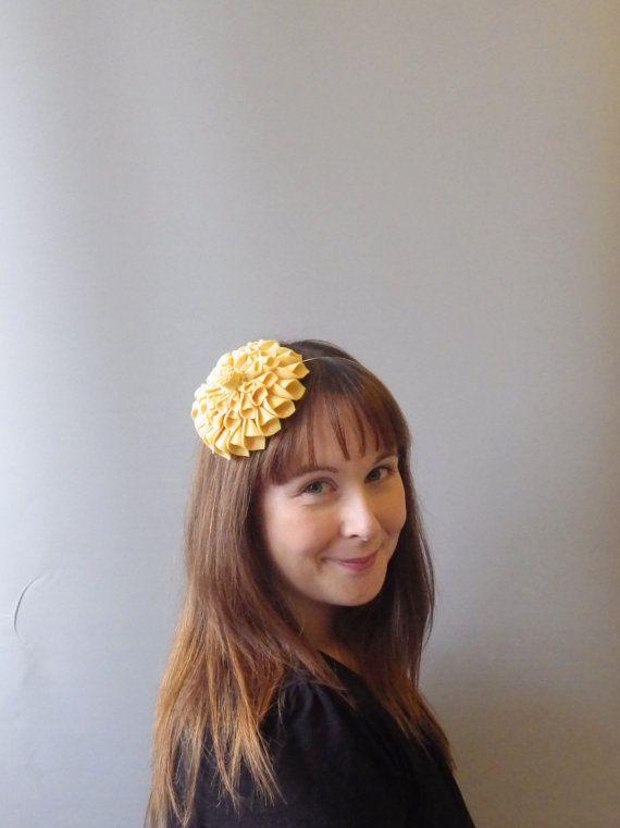 Pastel Yellow Fascinator Hair Accessory with felt flower dahlia. Flower headband also for bridesmaids / flowergirls /races / Derby