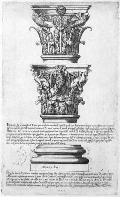 "Jacopo Barozzi da Vignola (1507-1573), 'Regola delli Cinque Ordini d'Architettura', Rome 1562; Plate XXX: Composite Order, Two Roman Examples of the ""so called"" Composite Capitals and the Attic Base."