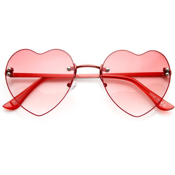 Small Thin Rimless Heart Shaped Womens Sunglasses ($10) ❤ liked on Polyvore featuring accessories, eyewear, sunglasses, glasses, sunglass, acetate sunglasses, heart glasses, acetate glasses, rimless sunglasses and rimless glasses