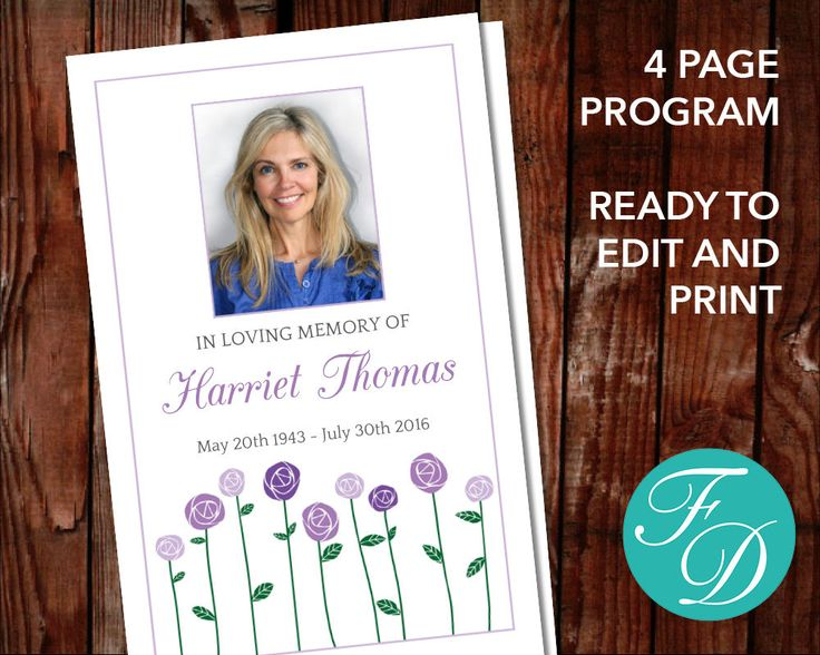 52 best Purple Funeral Programs images on Pinterest Funeral - funeral service template word