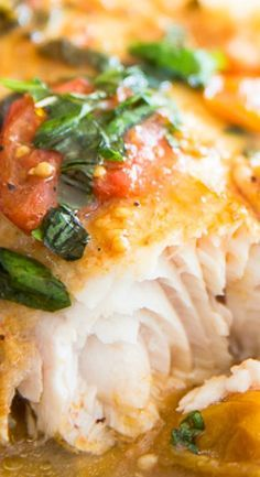 Easy Poached Fish in Tomato Basil Sauce   The Healthy Foodie